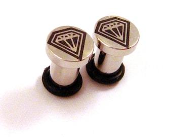 Diamond Soul 316L Surgical Steel Plugs - Single Flared - 8g (3mm) 6g (4mm) 4g (5mm) 2g (6mm) Metal Ear Gauges