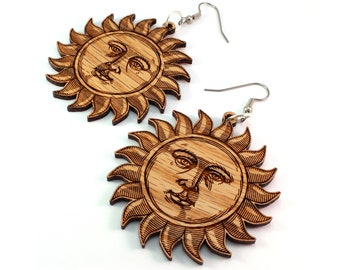 "Sun Face Wooden Hook Dangle Drop Earrings - Large (2"") - Oak or Walnut - Wooden Earrings"