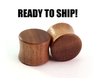 "READY TO SHIP - 9/16"" (14mm) Walnut Blank Wooden Plugs - Pair - Hand Turned - Premade Gauges Ship Within 1 Business Day!"