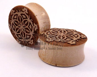 "Flower of Life Maple Wooden Plugs PAIR 7/16"" (11mm) through 2"" (51mm) including 1/2"" 9/16"" 5/8"" 11/16"" 3/4"" 13/16"" 7/8"" Ear Gauges"