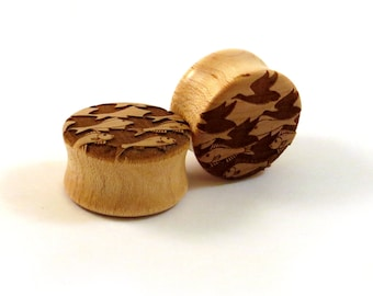 """Sky and Water Maple Wooden Plugs - PAIR - 11/16"""" (17.5mm) 3/4"""" (19mm) 13/16"""" (20.5mm) 7/8"""" (22mm) 1"""" to 1.5"""" (38mm)  M.C. Escher Ear Gauges"""