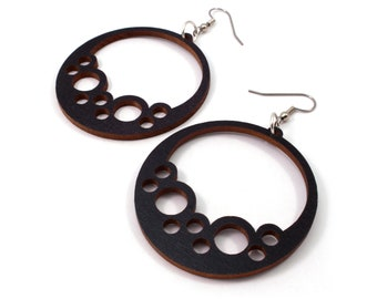 Sustainable Wooden Hook Earrings - Bubble Hoops - in Black Stained Maple