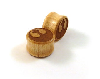 """Rebellious Maple Wooden Plugs  PAIR  2g 6.5mm 0g 8mm 00g 9mm 10mm 7/16"""" 11mm 1/2"""" 13mm 9/16"""" 14mm 5/8"""" 16mm 3/4"""" 19mm 7/8"""" and up Ear Gauges"""