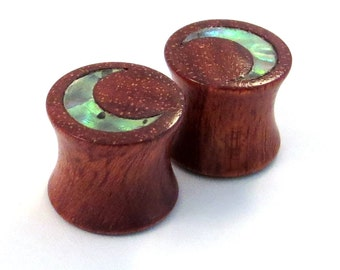 """Abalone Moon Inlay on Bloodwood Plugs PAIR 2g (6.5mm) 0g (8mm) 00g (9mm) (10mm) 7/16"""" (11mm) 1/2"""" (13mm) 9/16"""" (14mm) 5/8 (16mm) Ear Gauges"""