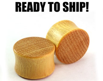 """READY TO SHIP - 3/4"""" (19mm) Yellowheart Unique Grain Wood Plugs - Pair - Hand Turned - Premade Gauges Ship Within 1 Business Day!"""