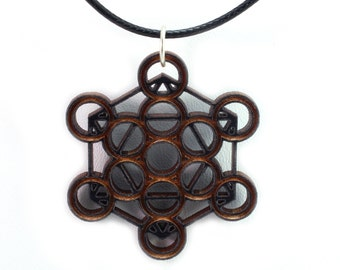 Metatron Cube Wooden Pendant - Oak, Walnut, Red or Black Stained Maple - Sacred Geometry -  Sustainable Wood Jewelry - SHIPS FREE