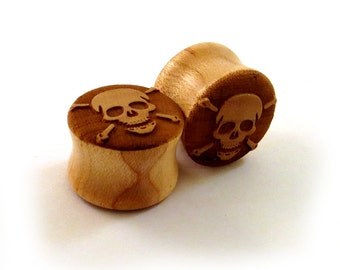 """Skull and Crossbones Maple Wooden Plugs - PAIR - 7/16"""" (11mm) through 1 3/4"""" (44mm) including 1/2"""" 9/16"""" 5/8"""" 11/16"""" 3/4"""" 7/8"""" + Ear Gauges"""