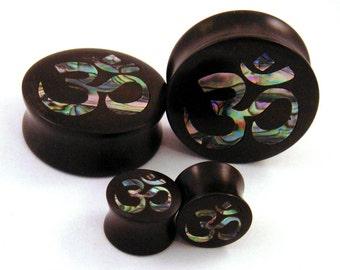 "Abalone Om Inlay in Ebony Wooden Plugs - 5/8"" (16 mm) 11/16"" (17.5mm) 3/4"" (19mm) (20.5mm) 7/8"" (22mm) 1"" (25.5mm) 1 1/8"" (28mm) Ear Gauges"