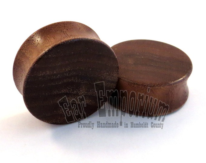 """Featured listing image: Walnut Wooden Plugs PAIR - 2g (6.5mm) 0g (8mm) 00g (9mm) 10mm 1/2"""" (13mm) 9/16"""" (14mm) 5/8"""" (16mm) 3/4"""" (19mm) 1"""" up to 38mm Wood Ear Gauges"""