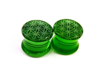 """Flower of Life Green Glass Plugs - PAIR - 2g (6mm) 0g (8mm) 00g (9mm) (10mm) 7/16"""" (11mm) 1/2"""" (13mm) 9/16"""" (14mm) 5/8"""" (16mm) Ear Gauges"""