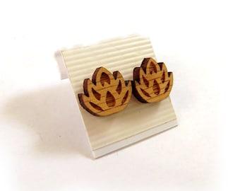 Lotus Flower Oak Wooden Post Earrings - Sustainable Wood Ear Studs