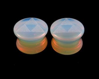 "Triforce Opalite Plugs 2g (6mm) 0g (8mm) 00g (10mm) 7/16"" (11mm) 9/16""(14mm) 5/8""(16mm) 3/4"" (19mm) 1"" (25mm) Translucent Glass Ear Gauges"