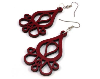 Sustainable Wooden Hook Earrings - Dripping Tears - in Red Stained Maple Wood Dangle Earrings