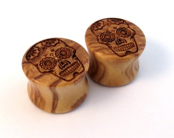 """Sugar Skull Olivewood Wooden Plugs PAIR 00g (10mm) 7/16"""" (11mm) 1/2"""" (13mm) 9/16"""" (14mm) 5/8"""" (16mm) 3/4"""" 7/8"""" 1"""" and up  Wood Ear Gauges"""
