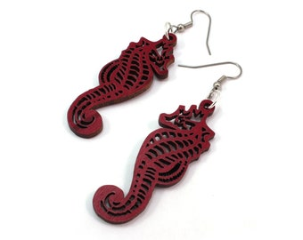 Seahorse Sustainable Wooden Earrings - in Red Stained Maple - Ocean Themed Marine earrings on surgical steel hooks