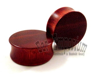 "Bloodwood Wooden Plugs - PAIR - 5/8"" (16mm) 11/16"" (17.5mm) 3/4"" (19mm) 7/8"" (22mm) 1"" (25.5mm) 1 1/8"" (28mm) 1 1/4"" (32mm) Wood Ear Gauges"