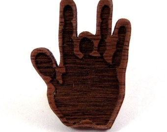 Jerry Hand Pin - Sustainably Harvested Walnut - Jerry Garcia Hat Pin