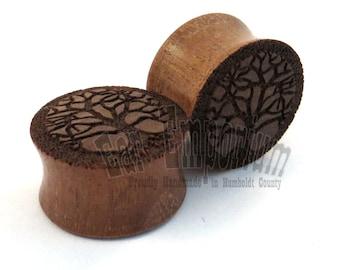 "Tree of Life Walnut Wooden Plugs PAIR - 2g (6mm) through 2'' (51mm) - 0g 8mm 00g 9mm 10mm 7/16"" 11mm 1/2"" 13mm 9/16"" 14mm and up Ear Gauges"