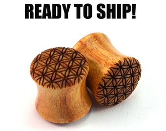 READY TO SHIP - 00g+ (10mm) Canary Flower of Life Wooden Plugs - Pair - Sacred Geometry - Premade Gauges Ship Within 1 Business Day!