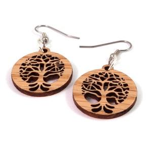 Simple Hoop Earrings made of Sustainable Oak Wood Small Hook Dangle Drop Earrings