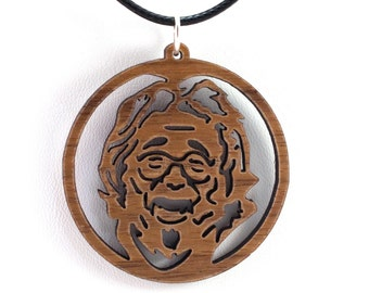 Jerry Garcia Wooden Pendant - Oak, Walnut, Red or Black Stained Maple - Sustainable Wood Jewelry - SHIPS FREE