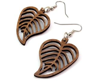 Sustainable Wooden Hook Earrings - Leaves - in Walnut - Wood Dangle Earrings