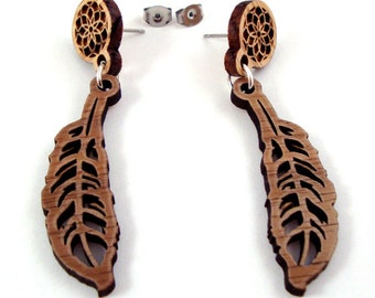 Dreamcatcher Feather Post Earrings - Sustainable Wooden Dream Catcher Earrings - in Oak and/or Walnut feathers