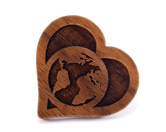 Love on Earth Wood Pin - Walnut, Oak, Red Stained Maple, or Black Stained Maple - World in Heart Wooden Hat Pin