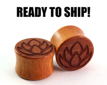"""READY TO SHIP - 3/4"""" (19mm) Osage Orange Lotus Wooden Plugs - Pair - Hand Turned - Premade Gauges Ship Within 1 Business Day!"""