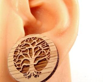 Large Tree of Life Sustainable Wooden Post Earrings - Oak Wood Studs