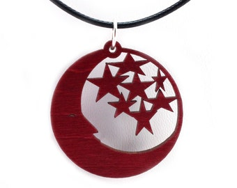 """Moon and Stars Wooden Pendant - Oak, Walnut, Red or Black Stained Maple - 1.45"""" - Celestial - Sustainable Wood Jewelry - SHIPS FREE"""