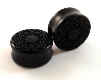 "Cubic Star Mandala Ebony Wooden Plugs PAIR - 1/2"" (13mm) 5/8"" (16mm) 3/4"" (19mm) 7/8"" (22mm) 1"" (25.5mm) to 1 3/4"" Geometric Wood Ear Gauges"