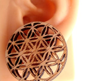 Flower of Life Sustainable Wooden Post Earrings - Center Hanging Large Oak Wood Studs