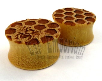 """Honey Bees and Honeycomb on Yellowheart Wooden Plugs - PAIR - 2g 0g 00g 10mm 11mm 1/2"""" (13mm) 14mm 16mm 19mm 22mm 1"""" 25.5mm up to 44mm Wood"""