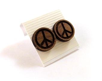 Peace Sign Walnut Wooden Post Earrings - Sustainable Wood Ear Studs
