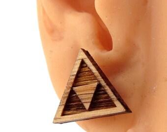 Tri Force Sustainable Wooden Post Earrings - triforce Oak Wood Studs - Zelda Fan