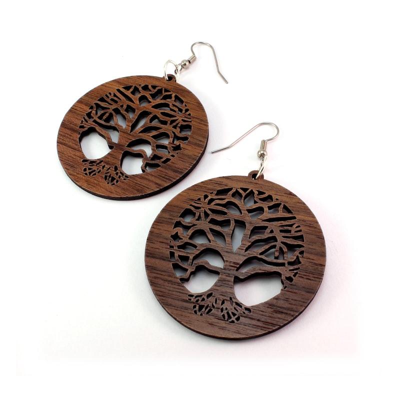 f2ac3b2582eb47 Tree of Life Sustainable Wooden Earrings Walnut 2   Etsy