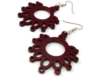 Sustainable Wooden Earrings - Dripping Loops - in Red Stained Maple - Gift for Her - Made in PA