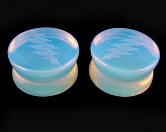 """13 Point Lightning Bolt Opalite Plugs 0g (8mm) through 1 1/4"""" (32mm) Glass Gauges 00g (10 mm) 7/16"""" (11mm) 9/16"""" (14mm) 5/16"""" (16mm) 3/4"""" +"""
