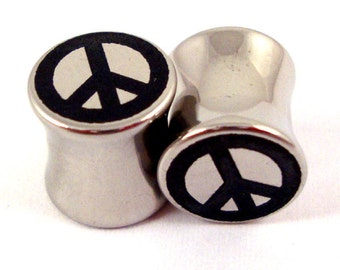 """Peace Sign Surgical Steel Plugs - 2g 0g 00g 7/16"""" (11mm) 1/2"""" (13mm) 9/16"""" (14mm) 5/8"""" (16 mm) Ear Gauges"""