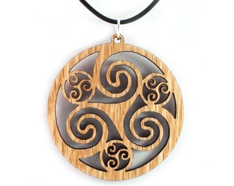 Celtic Hoop Wooden Pendant - Oak, Walnut, Red or Black Stained Maple - 3 Sizes- Sustainable Wood Jewelry - SHIPS FREE