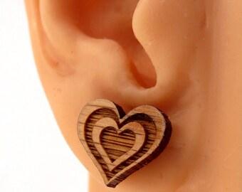 Beating Heart Sustainable Wooden Post Earrings - Oak Wood Studs