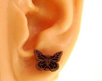 Monarch Butterfly Sustainable Wooden Post Earrings - Walnut Wood Studs
