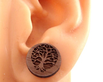 Tree of Life Sustainable Wooden Post Earrings - Walnut Wood Studs
