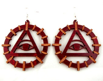 Sustainable Wooden Hook Earrings - Eye of Providence - in Red Stained Maple