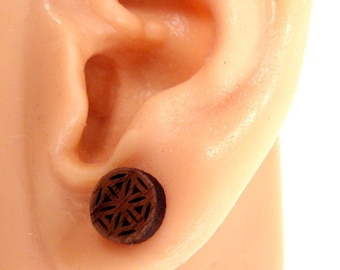 Flower of Life Sustainable Wooden Post Earrings - Small - Walnut Wood Studs