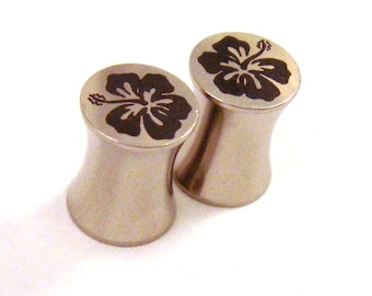 """Hibiscus Flower Surgical Steel Plugs - Double Flared - 2g 0g 00g 7/16"""" (11 mm) 1/2"""" (13mm) 9/16"""" (14mm) 5/8"""" Hawaiian Metal Ear Gauges"""