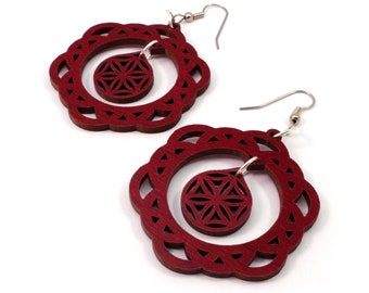 2-Part Flower of Life Sustainable Wooden Earrings - in Red Stained Maple - Sacred Geometry