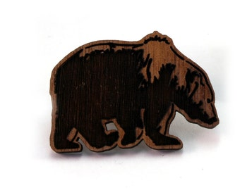 Grizzly Bear Wood Pin - Available in Walnut or Oak - Wooden Bear Hat Pin