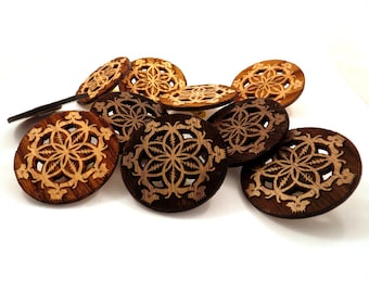10 pack of GD Inspired Flower of Life Hat Pins - Sustainably Harvested Oak, Walnut, and Maple